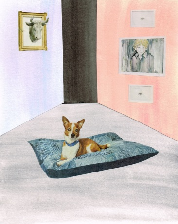 Untitled, Watercolor and Collage, Dog, 300 DPI
